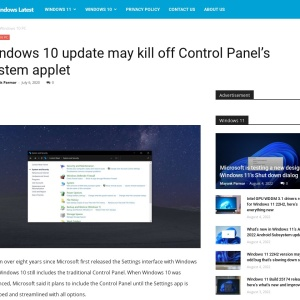 Windows 10 update may kill off Control Panel's System applet