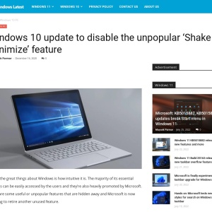 Windows 10 update to disable the unpopular 'Shake to Minimize' feature