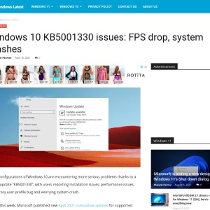 Windows 10 KB5001330 issues: FPS drop, system crashes