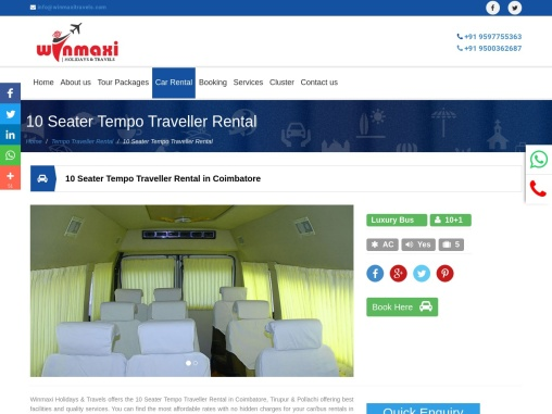 10 Seater Tempo Traveller Renta