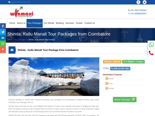 Shimla, Kullu Manali Tour Packages from Coimbatore