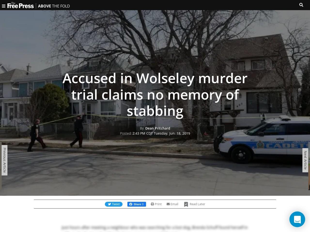 Accused in Wolseley murder trial claims no memory of stabbing