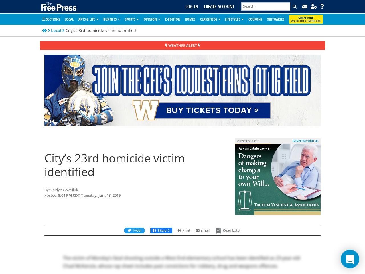 City's 23rd homicide victim identified