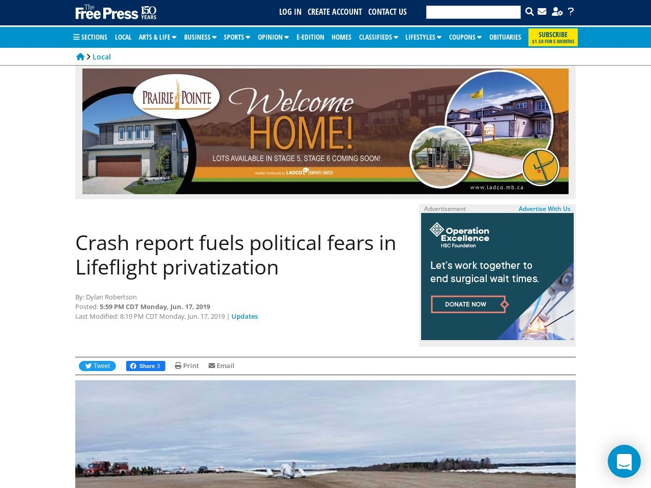 Crash report fuels political fears in Lifeflight privatization