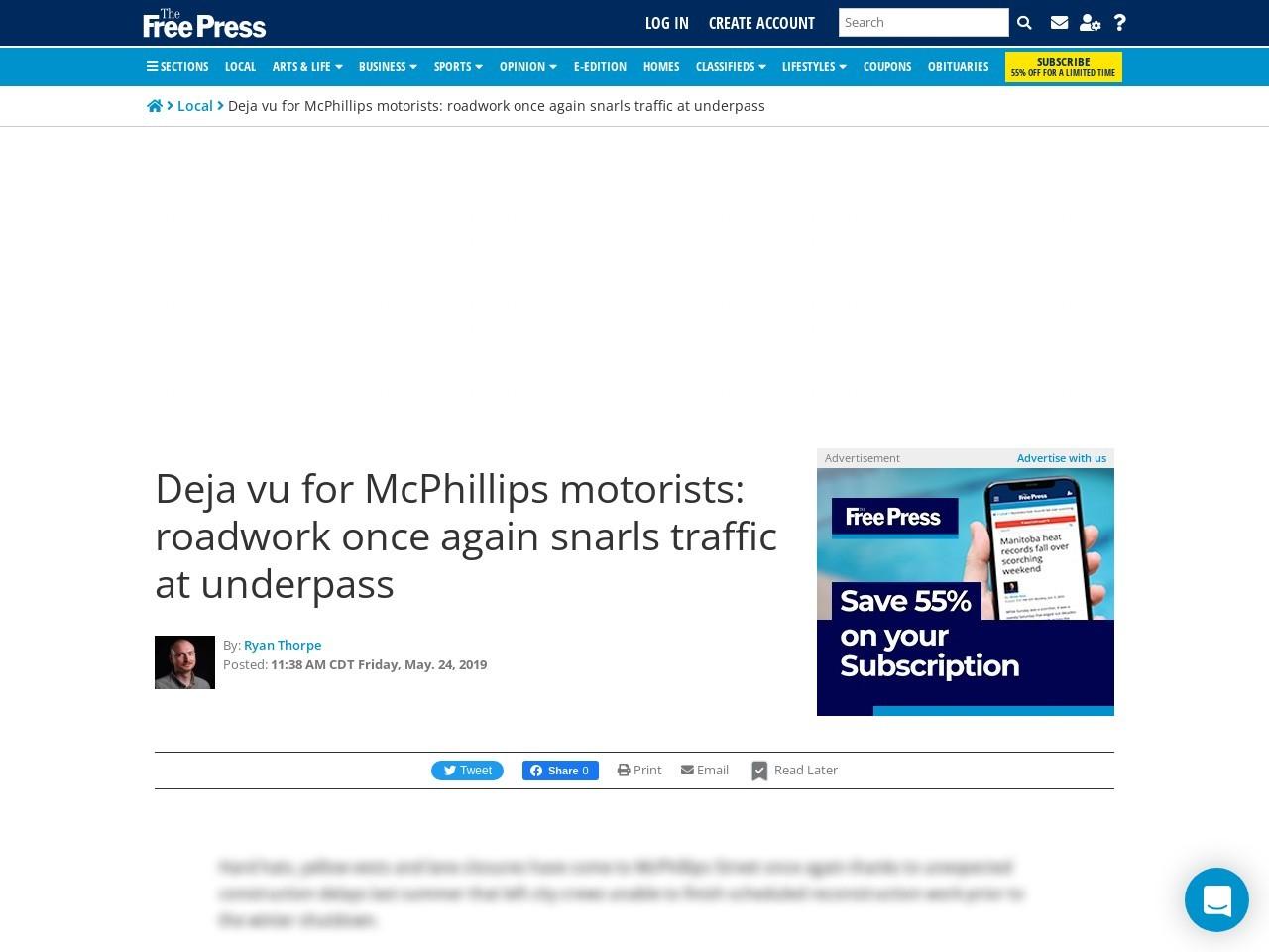 Deja vu for McPhillips motorists: roadwork once again snarls traffic at underpass