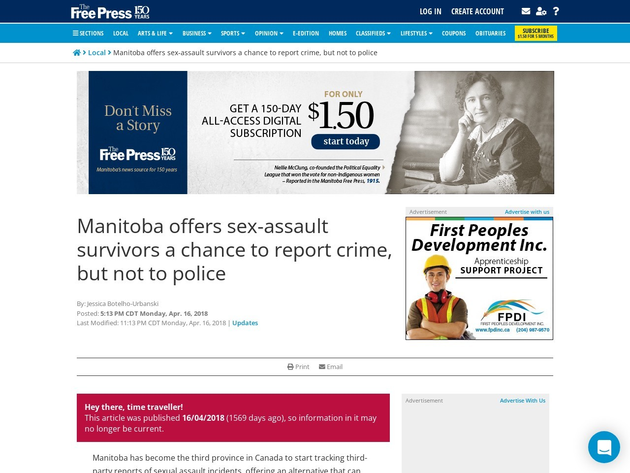 Manitoba offers sex-assault survivors a chance to report crime, but not to police