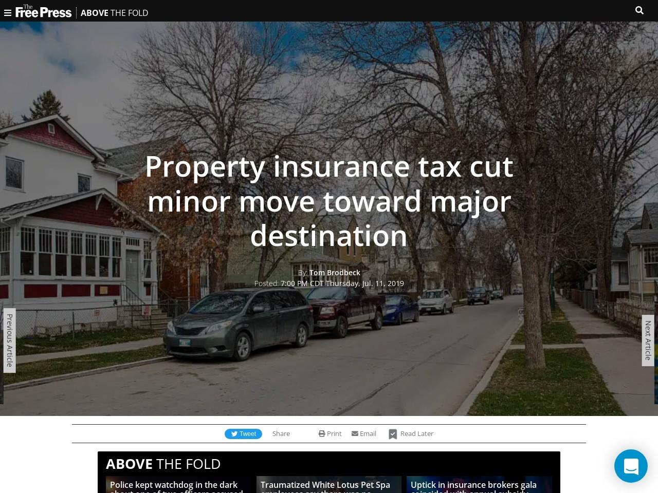 Property insurance tax cut minor move toward major destination