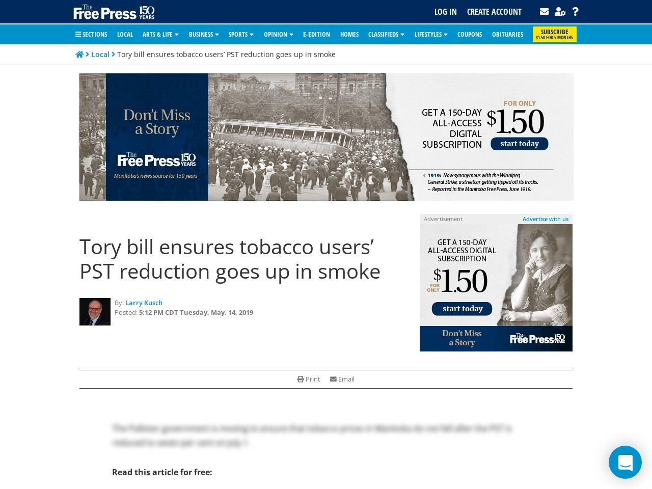 Tory bill ensures tobacco users' PST reduction goes up in smoke