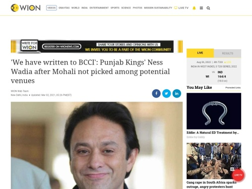 Ness Wadia Latest News : Mohali not picked among potential venues