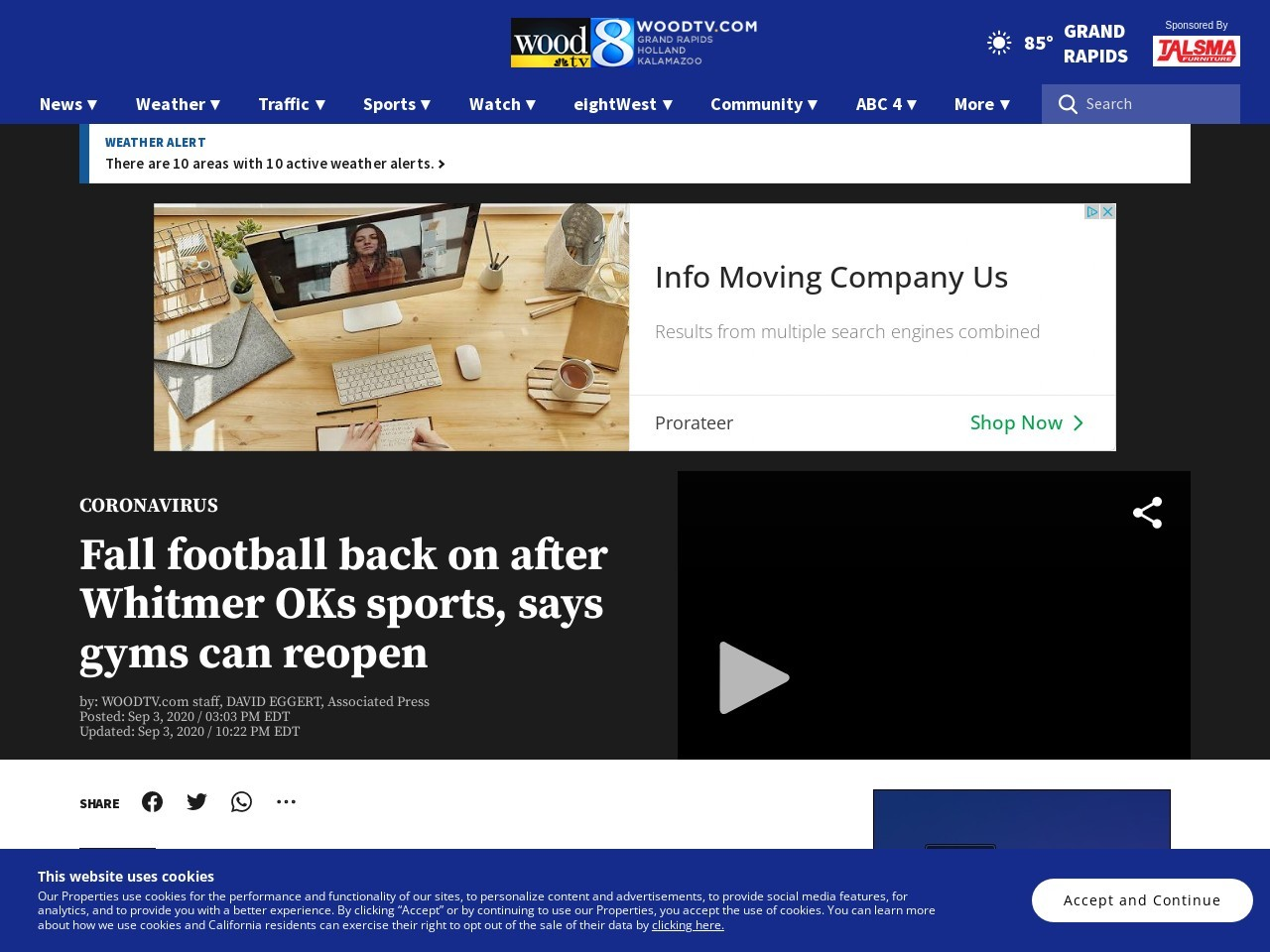 Whitmer: Gyms can reopen; sports can resume, but not advised