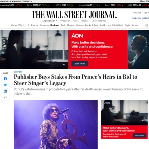 Publisher Buys Stakes From Prince's Heirs in Bid to Steer Singer's Legacy - WSJ