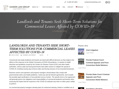 Landlords and Tenants Seek Short-Term Solutions for Commercial Leases Affected by COVID-19