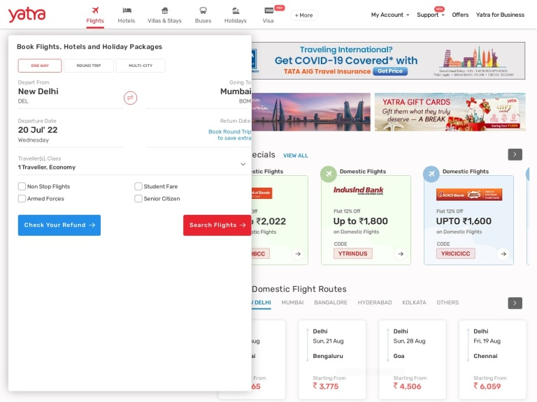 Yatra.com screenshot