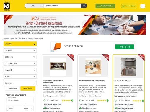 List of Kitchen Cabinets in UAE | Kitchen Cabinets Manufacturers in UAE