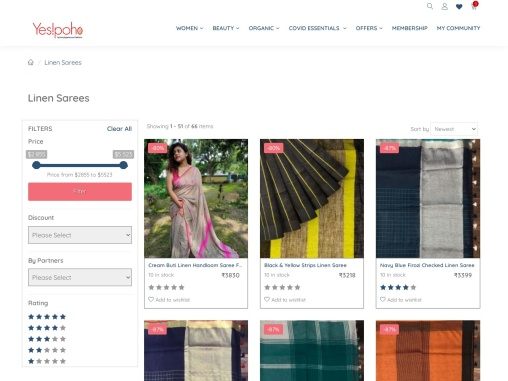 Buy Linen Sarees Online at Best Price From Yespoho