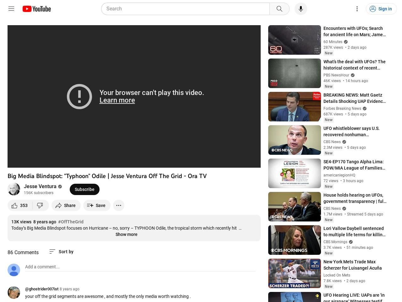 "Big Media Blindspot: ""Typhoon"" Odile | Jesse Ventura Off The Grid – Ora TV"