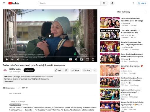 Farina Hair Care Interview   Hair Growth   Bharathi Kannamma