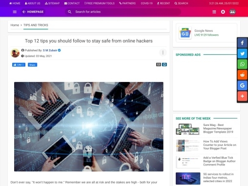 Top 12 tips you should follow to stay safe from online hackers