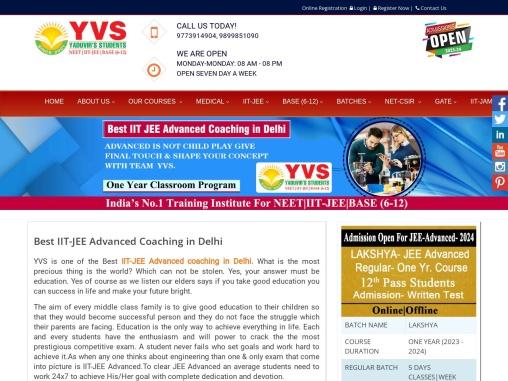 Best IIT JEE Advanced Coaching  in Delhi  – YVS Institute