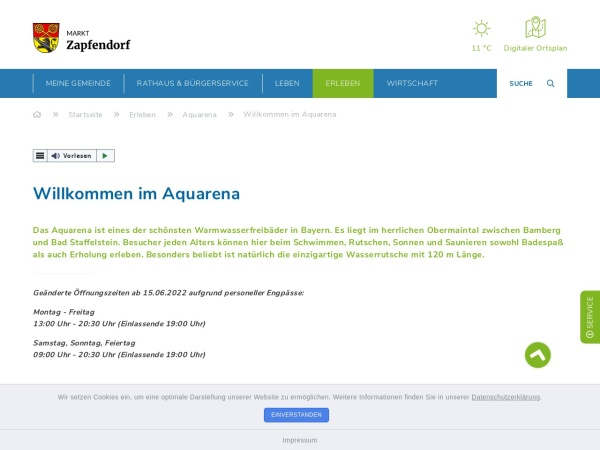 Screenshot von Freibad Aquarena Zapfendorf