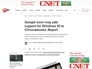 Google soon may add support for Windows 10 to Chromebooks: Report | ZDNet