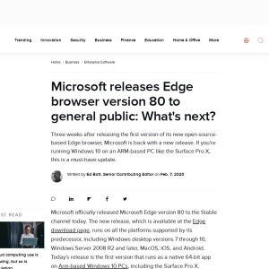 Microsoft releases Edge browser version 80 to general public: What's next? | ZDNet