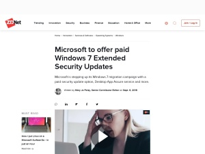 Microsoft to offer paid Windows 7 Extended Security Updates | ZDNet