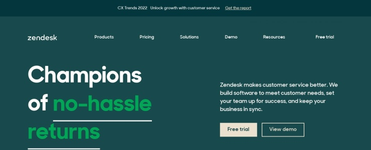 screenshot of Zendesk