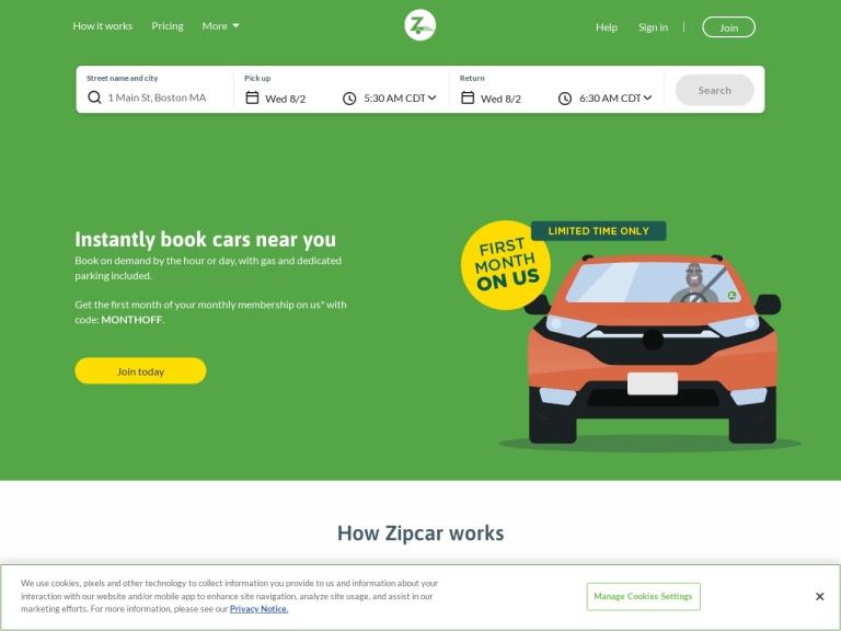 Zipcar Promo Codes & Referral Link screenshot