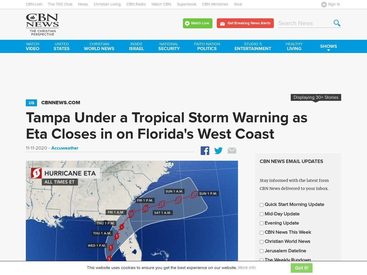 Tampa Under a Tropical Storm Warning as Eta Closes in on Florida's West Coast