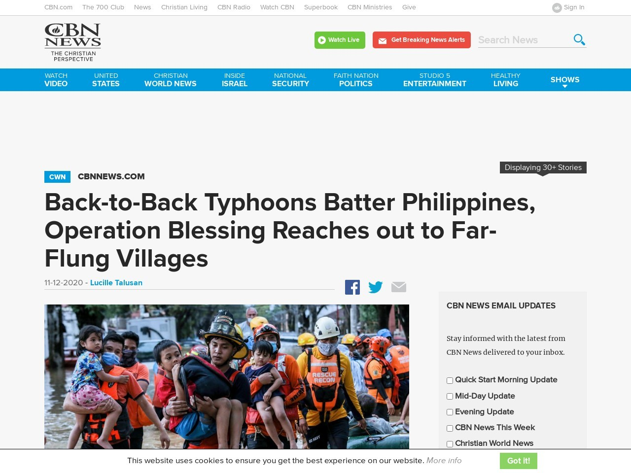 Back-to-Back Typhoons Batter Philippines, Operation Blessing Reaches out to Far-Flung Villages