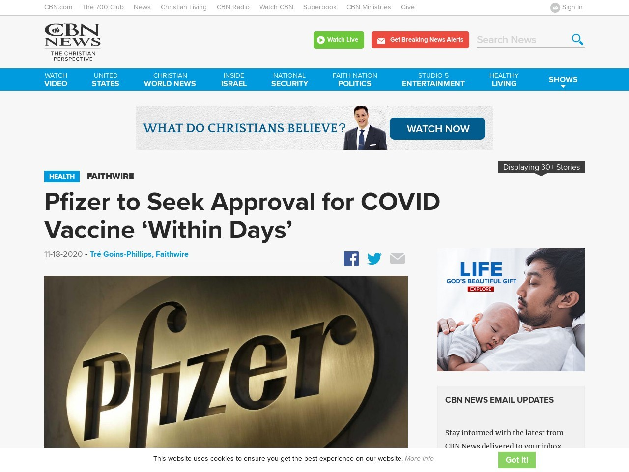 Pfizer to Seek Approval for COVID Vaccine 'Within Days'