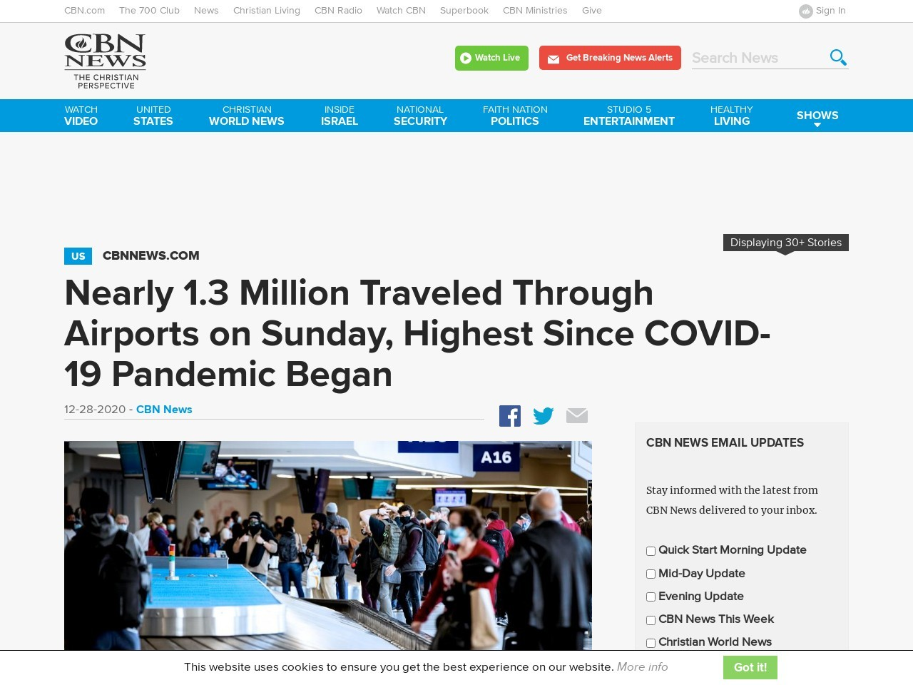 Nearly 1.3 Million Traveled Through Airports on Sunday, Highest Since COVID-19 Pandemic Began