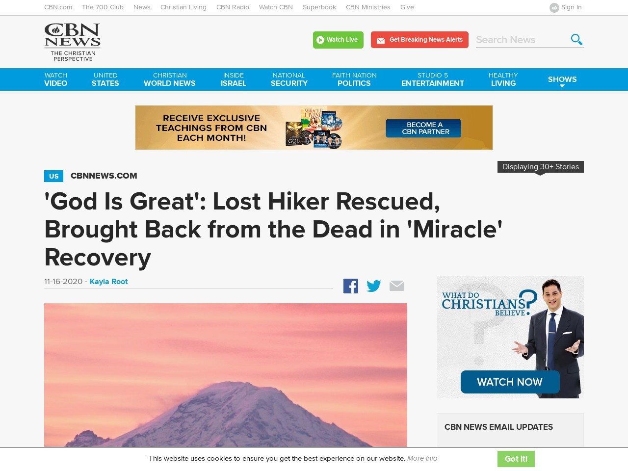'God Is Great': Lost Hiker Rescued, Brought Back from the Dead in 'Miracle' Recovery
