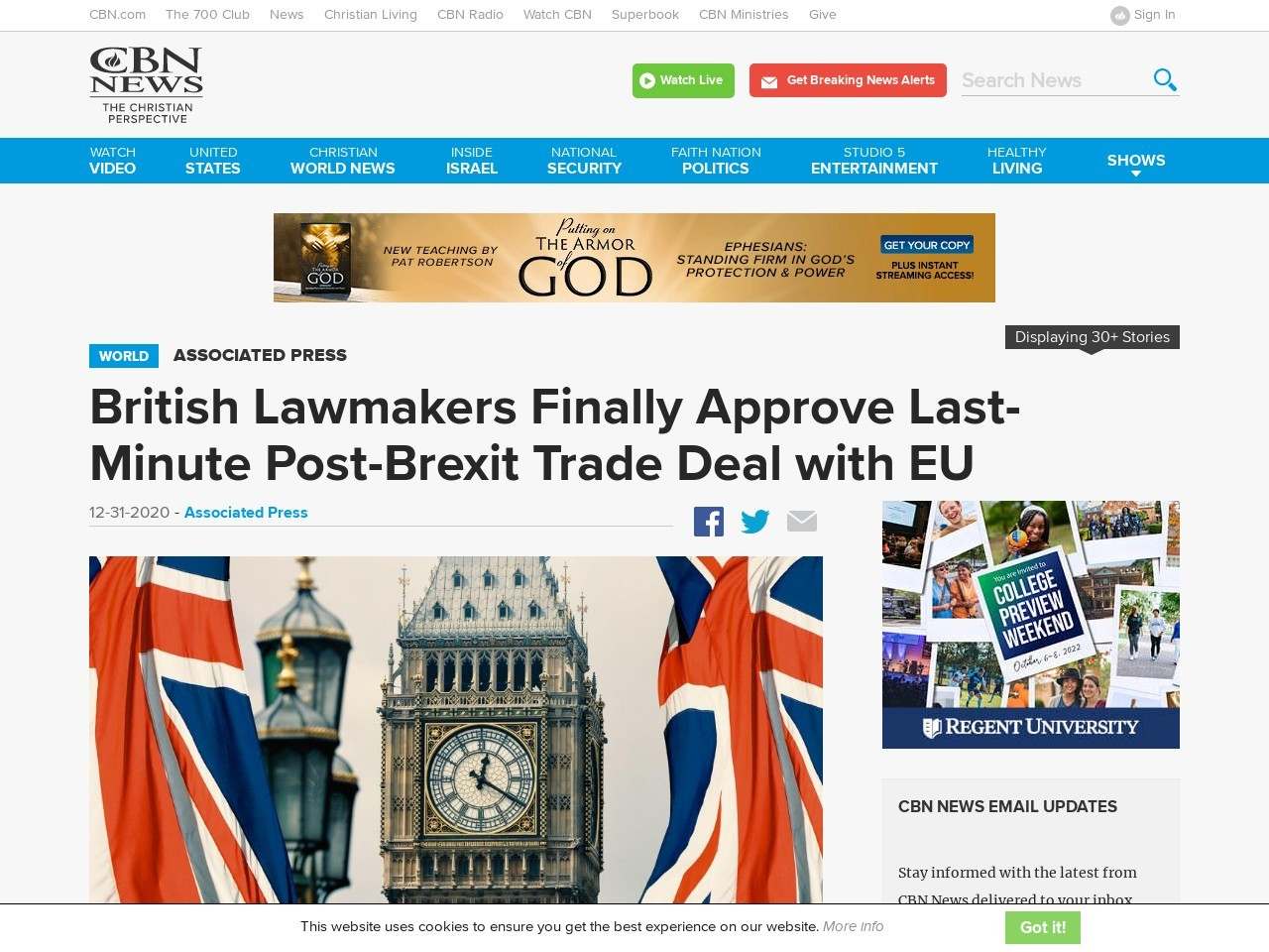British Lawmakers Finally Approve Last-Minute Post-Brexit Trade Deal with EU
