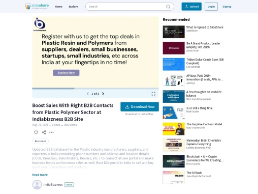 Boost Sales With Right B2B Contacts from Plastic Polymer Sector at Indiabizzness B2B Site