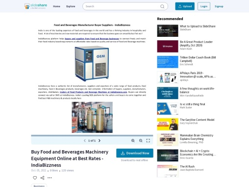 Food and Beverages Machinery Equipments Buyer Suppliers Manufacturer Exporter – IndiaBizzness