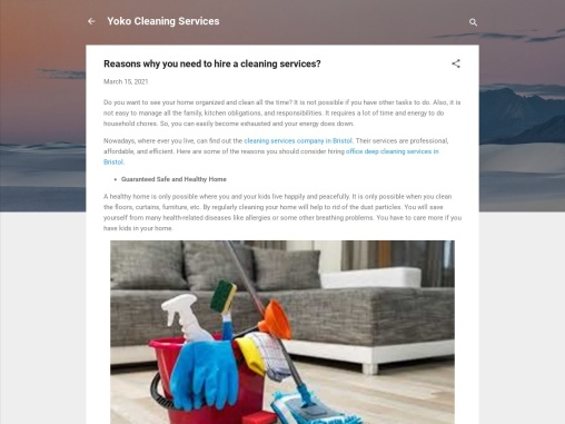 Why do you need us for Cleaning Services?