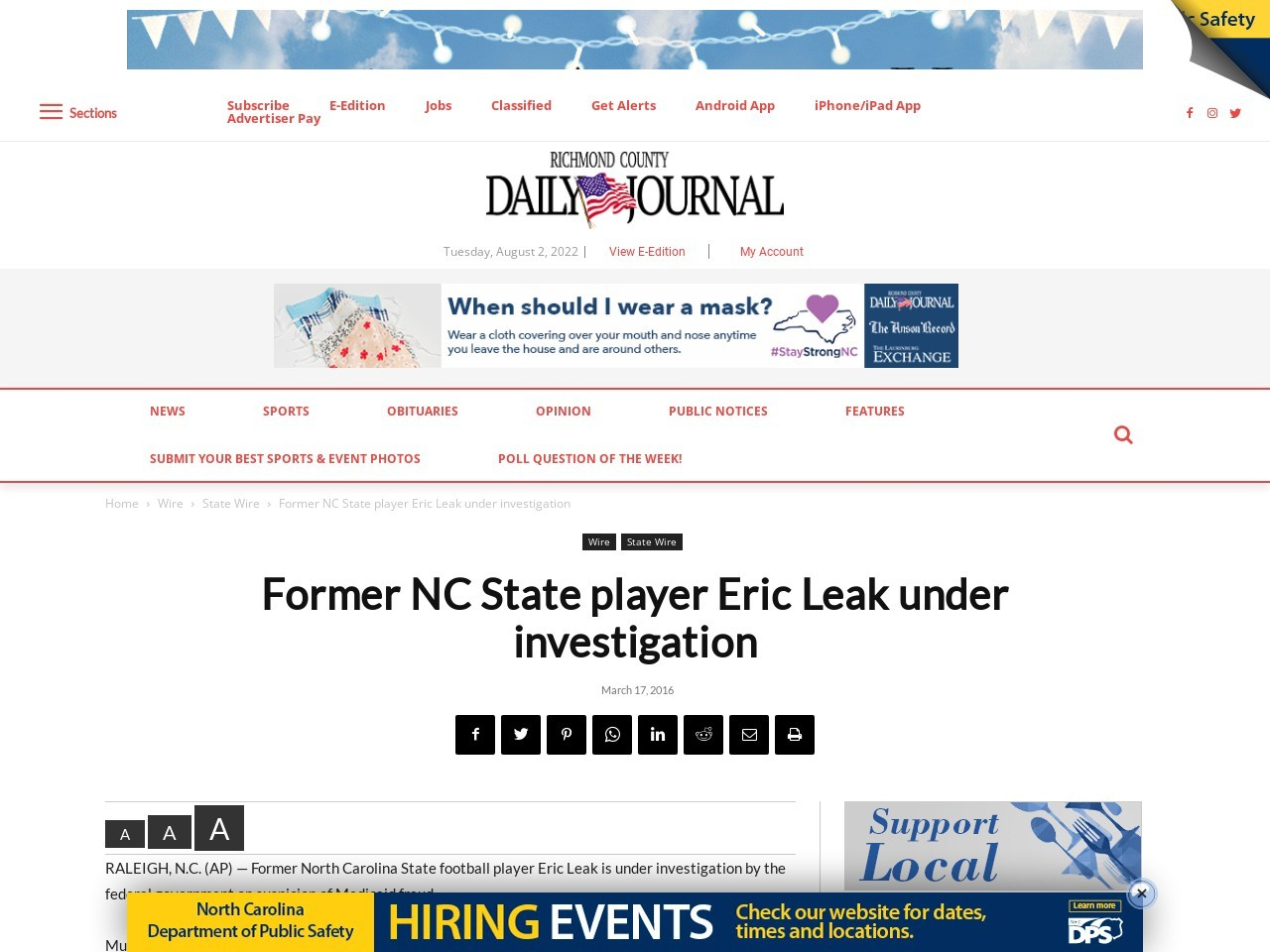 Former NC State player Eric Leak under investigation