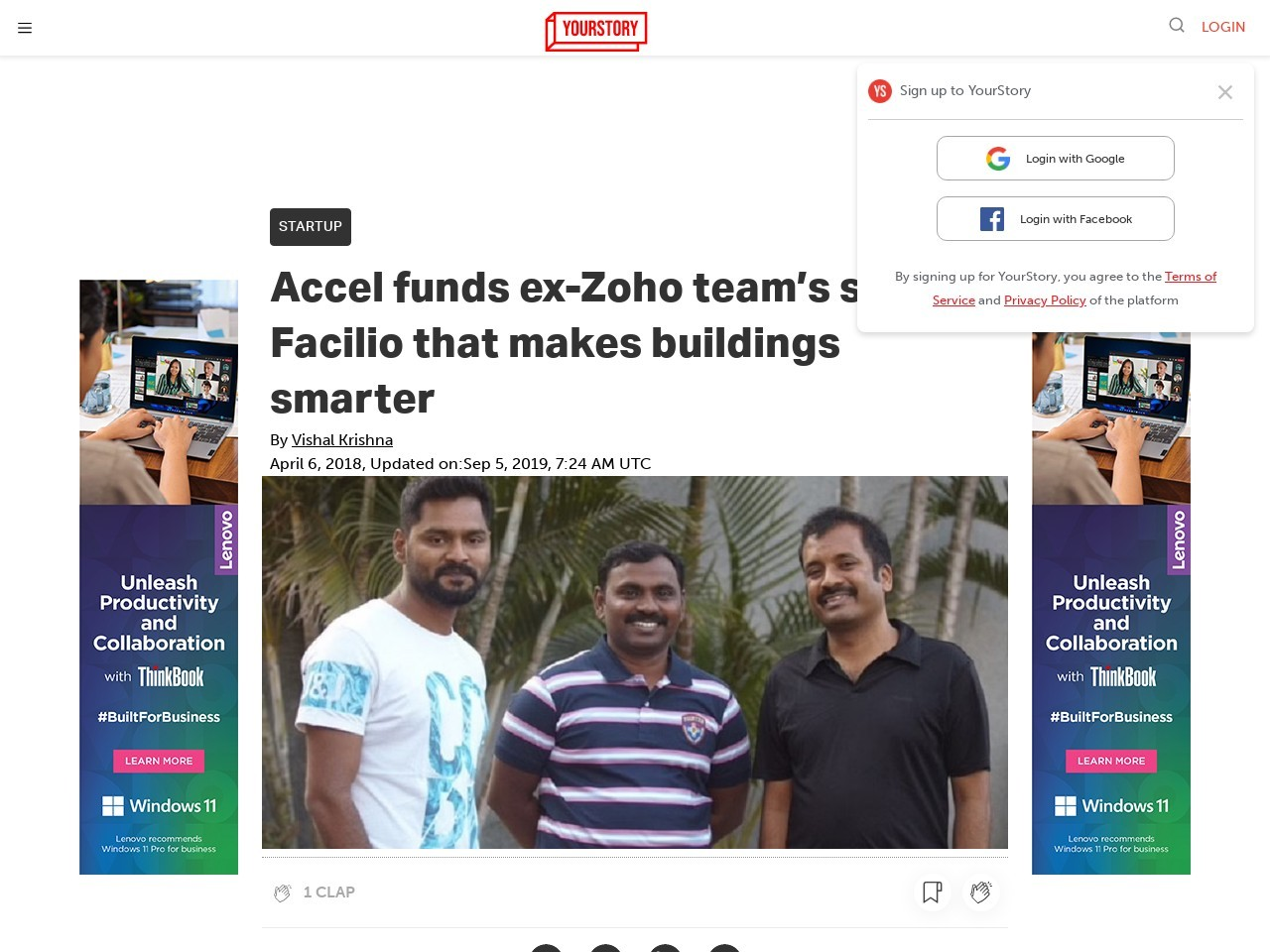 Accel funds ex-Zoho team's startup Facilio that makes buildings…