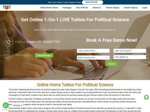 Online Home Tuition For Political Science
