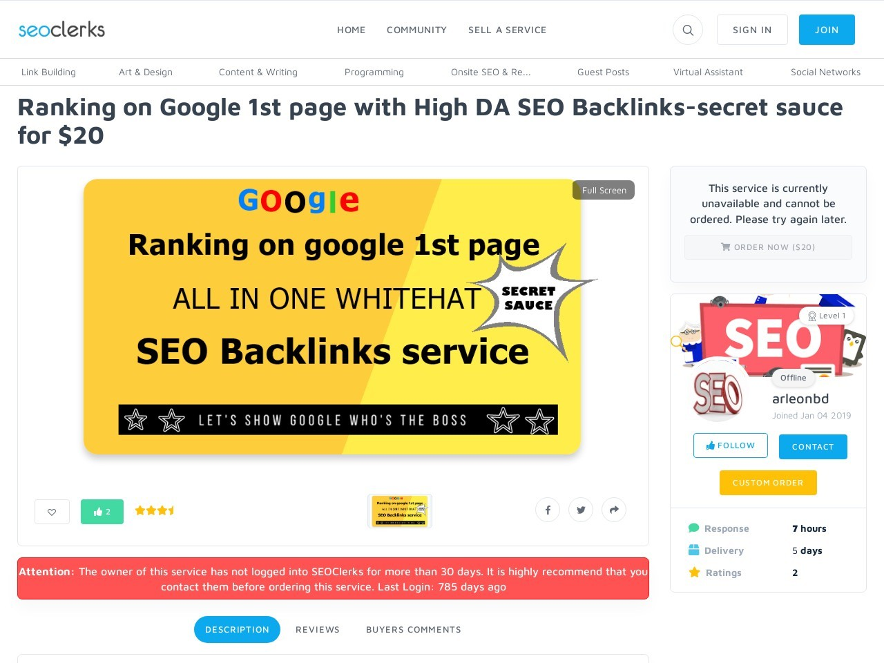 Ranking on Google 1st page with High DA SEO Backlinks for $20