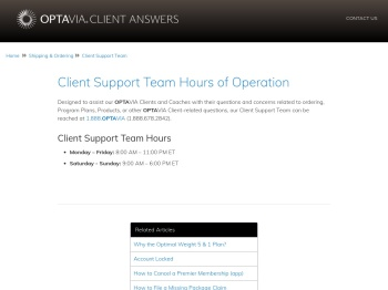 Client Support Team Hours of Operation - optavia client answers