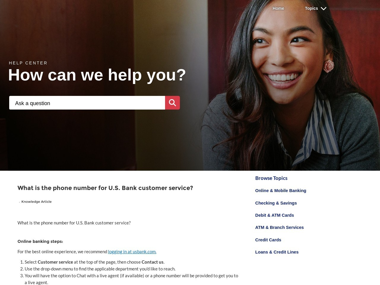How do I find the customer service phone number ... - US Bank