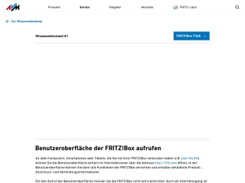 Benutzeroberfläche der FRITZ!Box aufrufen | FRITZ!Box 7360 ...