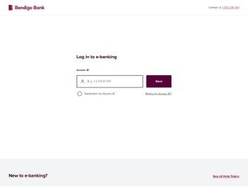 Bendigo Bank - Logon to e-banking