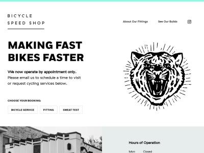 screenshot of Bicycle Speed Shop's homepage