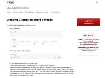 Creating Discussion Board Threads - USC Blackboard Help