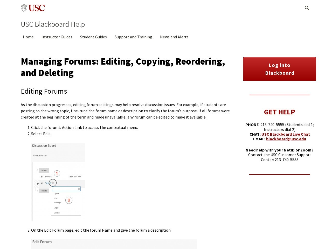 Managing Forums: Editing, Copying, Reordering, and Deleting