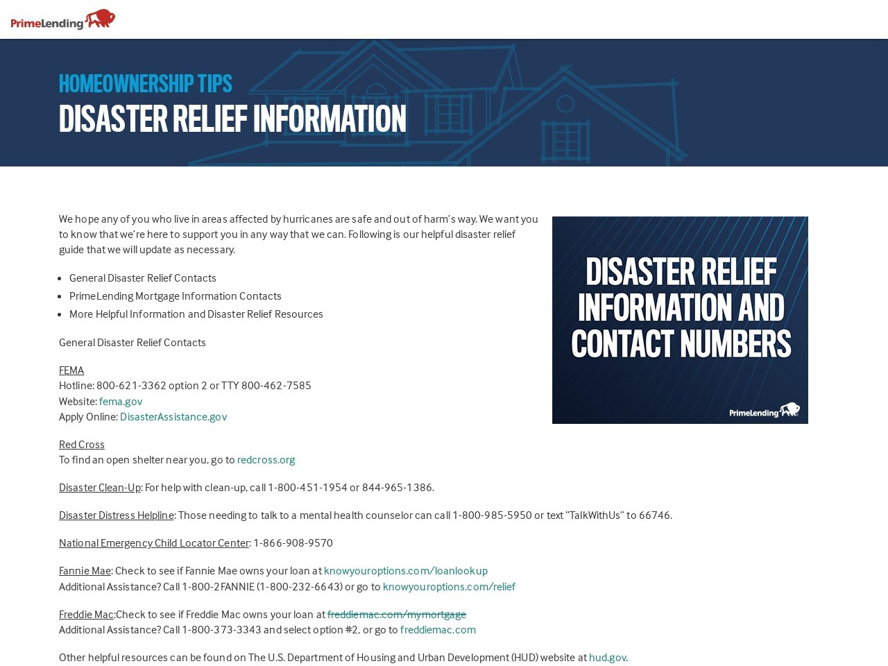Disaster Relief Information and Contact Numbers ...